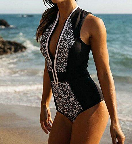Himoya Frauen V-Ausschnitt gedruckt High Cut One Piece Bikini Set Bandage Badeanzug aufgefüllte Monokini Schwarz