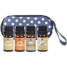 Lagunamoon Aromathérapie l'Huile Essentielle, Lot de 4pcs (bergamote, ylang ylang, encens, vanille) Diffuseurs, Humidificateurs pour dormir, sauna facial, spa, diffusion, bain 10ML