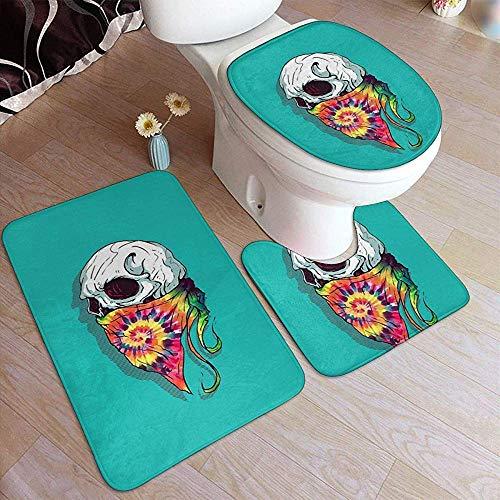 WEURIGEF Alfombras de baño Cráneo Hipster Tie Dye Facecloth Alfombrillas de baño Suave Antideslizante Alfombras de 3 Piezas Alfombrilla de baño en Forma de U Tapa Tapa Alfombras de baño absorbentes