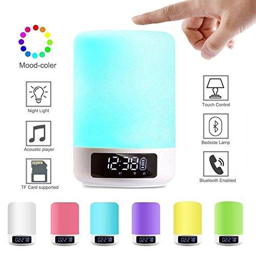 WMWZ Bluetooth-Lautsprecher Nachtlicht Lampe Tragbare Nachttischlampe mit Wireless Touch Dimmbarer Tisch mit TF-Karte, Freisprecheinrichtung Geschenk für Frauen Männer Kinder