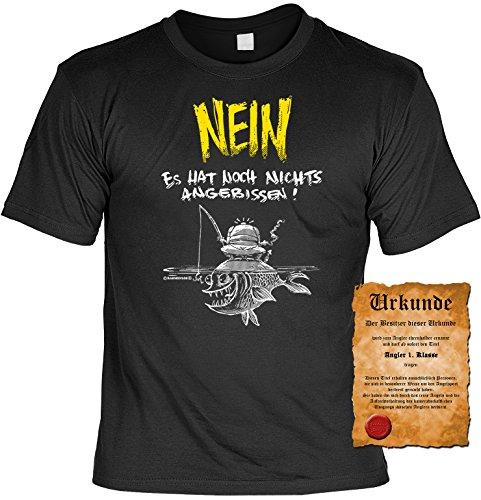 Witziges Angler Spaß-Shirt Herren + gratis Fun-Urkunde: NEIN Es hat noch Nichts angebissen! Schwarz