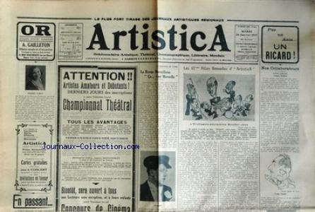 ARTISTICA [No 808] du 20/04/1937 - CRISCUOLO - REGINA ARDENTI - ROLAN CONCOURS DE CINEMA PAR AUTREY CHAMPIONNAT THEATRAL - CHARLY - TOZZONI - DELEUIL - BOURELLY - CESARO - GILBERT - DORSAY - LYX - RAMON - PIERROT INCONNU - JENSE - MARC - FALLER - MAURY - ROSE - ROLLAND - MICHEL - PASCAL - GINEY - ROUSSY - ROUGON - JEAN - FRANCE - PERRET - HENRI - CORSINI - ANGELE MARIA - FRANCK LYX - ODETTE PAX ET BOSCO