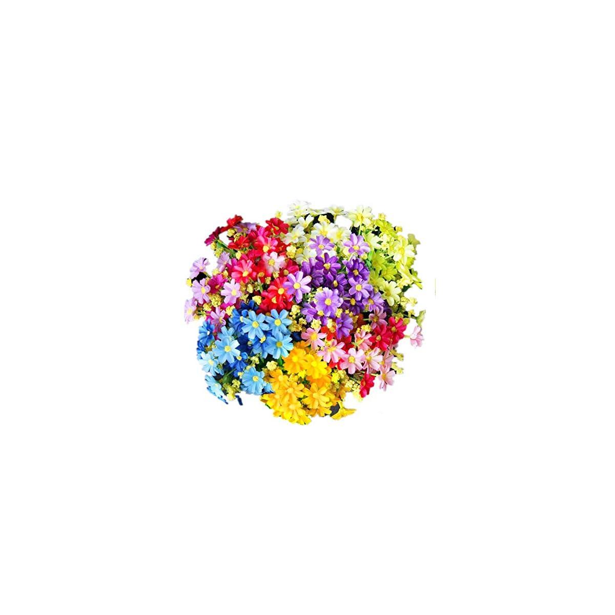 51BdDyVeJKL. SS1200  - EQLEF Margaritas Artificiales Decoracion, Realista Falso Hermoso para la Boda casera Decoración de jardín 5 manojos