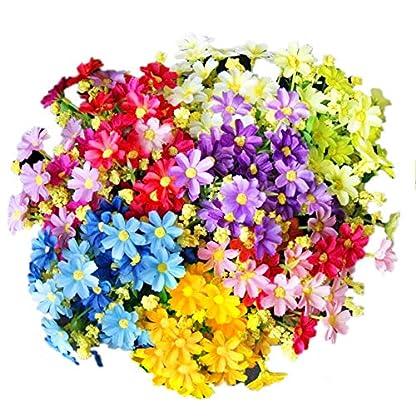 EQLEF Margaritas Artificiales Decoracion, Realista Falso Hermoso para la Boda casera Decoración de jardín 5 manojos