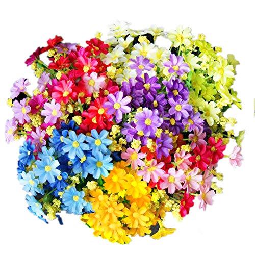 Eqlef di fiori artificiali, realistica bella falso daisy bianco, rosa viola, giallo, blu per la decorazione del giardino di nozze a casa 5 grappoli (bianco, rosa, viola, giallo, blu)