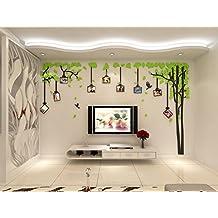 Alicemall Pegatinas de Pared Vinilo Árbol Verde y Marcos de Fotos Acrílico Adhesivos 3D Decorativos para Pared Grande 2.1*3.4m con 9 Marcos de Foto de 6 Pulgadas