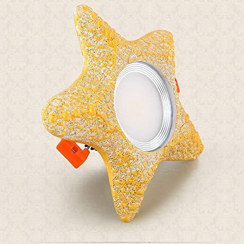 Deckeneinbauleuchte Kreative Gelbe Seesterne Form Harz Downlight Scheinwerfer Kinderzimmer Dekoration Energiesparende LED Downlighter Offenes Loch Größe 75mm Akzent Lampe (Color : LED-Dimmable) - Akzent-scheinwerfer-set