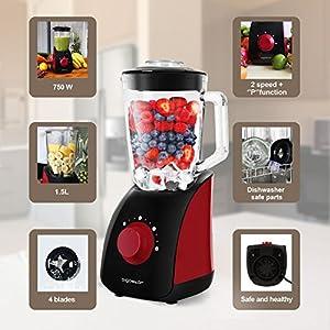 Aigostar Pomegranate 30JDF - Frullatore da tavolo multifunzione, frantoio a ghiaccio con vaso in vetro da 1,5 litri, 2 velocità e 4 lame in acciaio inox 750W, nero e rosso, BPA Free. Design esclusivo.