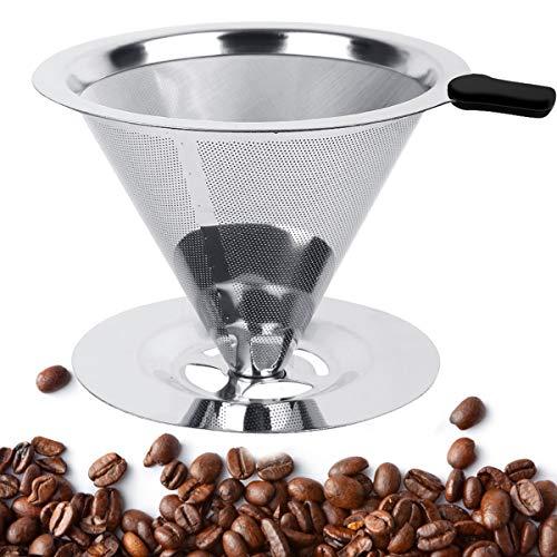 Natuce Permanent-Kaffee-Filter Premium-Qualität Edelstahl Kaffeefilter mit Ständer Wiederverwendbare Handfilter Kaffee Aufsatz Edelstahlfilter Pour Over für 1-2 Tassen - 1 Tasse Kaffee-filter