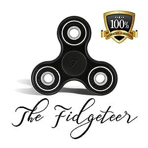 Fidgeteer Fidget Spinner Jouet EDC | Anxiété et soulagement du stress | Roulements en céramique | Noir