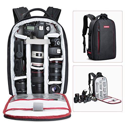 Beschoi - Mochila para Cámara Réflex y Accesorios, Mochila Fotografía para Canon Nikon Sony Pentax Cámara DSLR y Tabletas Portátiles, L