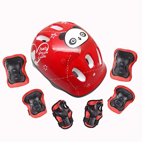 Giplar 7 Pezzi Bambini Addensare Kit Protezione Kids Protective Gear (Ginocchiere + Gomitiere + Polsiere + Casco), 3-12 Anni