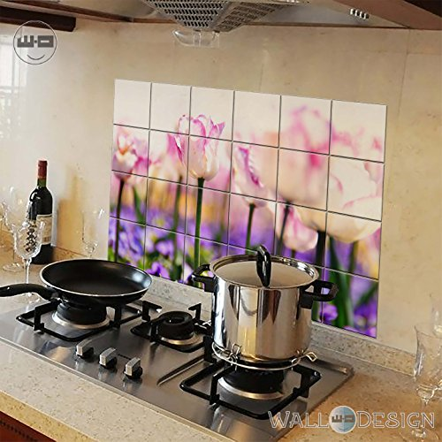 Walldesign Kitchen Protection Anti-Mark Oil Proof Easy Clean Plastic Wall Stickers Pink Tulips (Pvc Vinyl, 80 Cm X 54 Cm)