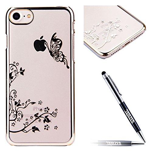 JAWSEU Hard Clear Schutzhülle für iPhone 6 Plus/6S Plus,Ultra Dünne Bumper-Style Überzug Glitzer/Strass/Diamanten/Glänzend Schmetterling Blumen Slim Durchsichtig Transparent Crystal Clear Hart PC Zurü Schmetterling,Gold