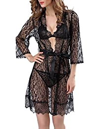 Camisas de noche Lace Nightdress Perspective Robe Lingerie