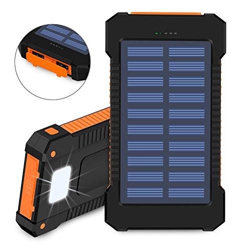Caricabatteria solare, 10000 mAh Solar Power Bank, doppia porta USB impermeabile antipolvere e antiurto portatile per batterie con luce LED per escursionismo, campeggio e altre attività all' aperto(arancia)