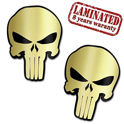 2 Stück Vinyl Punisher Gold Totenkopf Schädel Aufkleber Autoaufkleber Stickers Auto Moto Motorrad Fahrrad Helm Fenster Tuning B 221