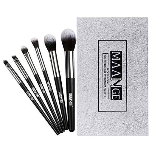 Vovotrade MAANGE Ombre à paupières Ma Ange 18 Couleurs + 6 pinceaux de Maquillage Ensembles de Coton à Manche en Bois Set de pinceaux de Maquillage Outils Beauté Makeup Brushes Cosmétique (Silver)