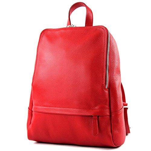 Leder-reißverschluss-vordere Tasche (modamoda de - T138 - ital Damen Rucksacktasche aus Leder, Farbe:Rot)