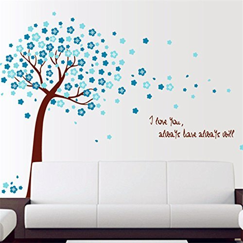 Romantic Cherry Peach Blossom Plum Flowers Tree Wall Stickers Mural Art Decals Vinyl Home Decoration DIY Removable Living Bedroom Décor Wallpaper Kids Room Gift, 2 Color, Pink, Blue (Blue) by Rainbow Fox