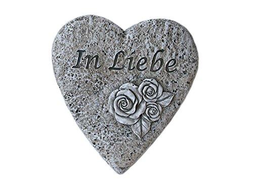 Unbekannt Grabdekoration: Flaches Deko-Herz mit Inschrift 'In Liebe', Rosen Verzierung, Steinharz, Erinnerung Grab Gedenken
