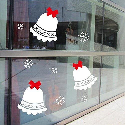 LQRRHY Frohe Weihnachten Glocke Wandaufkleber Glas Raumdekorationen DIY Vinyl Geschenk Abziehbilder Festival Mual Art Poster (Glas Für Halloween-vinyl-abziehbilder)