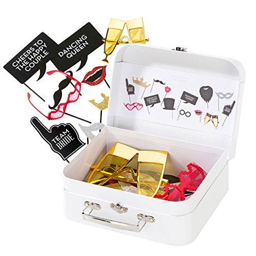 Koffer mit Foto-Requisiten, Fotozubehör, Party Accessoires für die Fotoecke & Fotobox auf deiner Hochzeit oder Party- 12 teilig