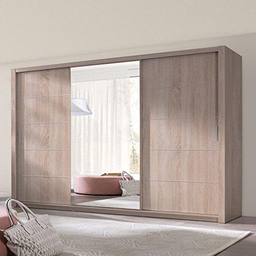 Selsey Ordu - Kleiderschrank / Schwebetürenschrank mit Spiegel (Holzoptik Sonoma Eiche 250 cm)