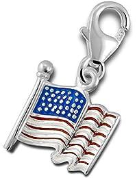 So Chic Joyas - Colgante Charm bandera americana EE.UU. Plata 925