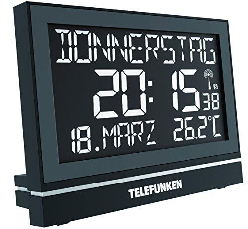 Telefunken FUX-700-HRB (B) SENIOREN XXL-LCD-Funkwecker /Wanduhr Uhr digital mit hochaufl. Negativ-Display, USB Anschluss zur ext. Stromversorgung, 8-facher Alarm zB für Medikamenteneinnahme (schwarz) (Datum Medikament)
