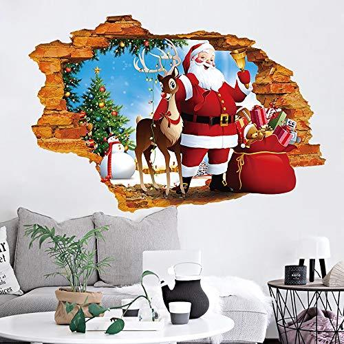 JLCP Autocollant Mural 3D, Père Noël Marchant à Travers Le Mur Autocollants Autocollant d'art déco de Bureau Maison décoration d'arrière-Plan Étanche PVC Papier Mural