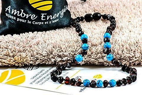 Collier Ambre 33cm - 100% Plus Haute Qualité Certifié l'Ambre la Baltique Authentique Collier Perles de plus gros! / Garantie de Remboursement!! (Turquoise2)
