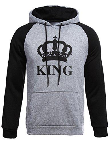 Nlife Frauen und Männer Paar Kleidung Brief Gedruckt König Königin mit Kapuze Outfits Paar Langarm Match Hoodies Erwachsene Liebhaber Pullover Sweatshirt (Sweatshirt Liebhaber Adult)