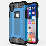 gahatoo iPhone X [10] Outdoor Case Hülle Ultra Slim [Hybrid TPU Silikon Hardcase] Handyhülle in Blau [Tactical Military Defender]
