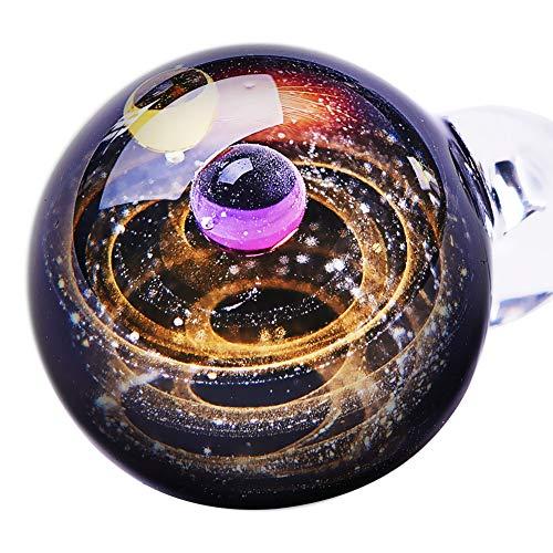 BENECREAT Magic Galaxy Gold Sand Lampwork Anhänger Halskette, Universum Weltraum Schmuck Cosmic Planet Stars Glas Amethyst Charm Halskette, 3 Schnüre, einzigartiges Geschenk für Frauen Mädchen Frauen