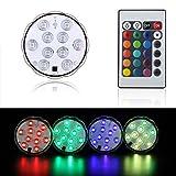 10leds RGB sumergible LED Light, resistente al agua multicolor LED bajo jarrón Base floral luz con 24teclas...