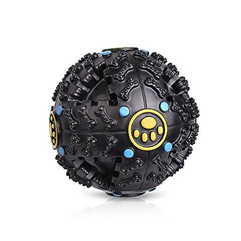 Petacc Balle pour Chien Jouets à Mâcher Jouet pour Chien Boule de Chien Distributeur de Croquettes non Toxique 9,5CM (Noir)
