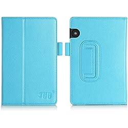 Funda Kindle Voyage, Kindle Voyage Funda, Fyy de cuero, delgada y ajustable para kidle color azul cielo (Con auto reposo/despertar)