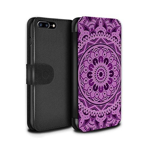 Stuff4 Coque/Etui/Housse Cuir PU Case/Cover pour Apple iPhone 8 Plus / Floral/Sépia Design / Art Mandala Collection Rêve/Violet