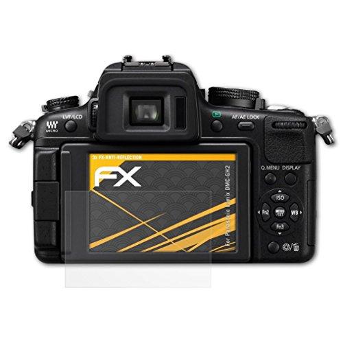 atFoliX Panzerfolie kompatibel mit Panasonic Lumix DMC-GH2 Schutzfolie, entspiegelnde und stoßdämpfende FX Folie (3X)