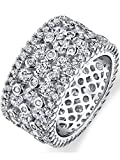 Ultimate Metals Co. Sterling Silver Wide Eternity Wedding Band Ring With Round Cut Cubic Zirconia Size M