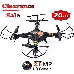 GPTOYS F2C Aviax Télécommande Quadcopter Drone Hélicoptère radiocommandé Noël Avec émetteur, Système Gyroscopique, Caméra HD et Lumières LED, 4G Carte SD, Lecteur de Carte SD Noir