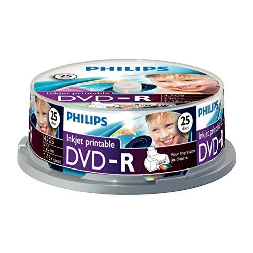 Philips DVD-R Rohlinge (4.7 GB Data/ 120 Minuten Video, 16x High Speed Aufnahme, 25er Spindel, inkjet printable)