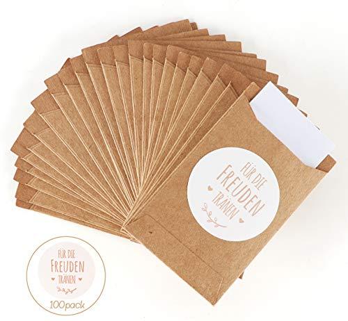Absofine 100 Stk. Mini Geschenktüten Freudentränen Geschenktüten & Sticker Flachbeutel vintage Aufkleber Papiertüten Tüten Geschenk-Verpackung für Hochzeit Taschentücher Schmuck