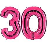 PartyMarty Ballon Zahl 30 in Pink - XXL Riesenzahl 100cm - zum 30. Geburtstag - Party Geschenk Dekoration Folienballon Luftballon Happy Birthday Rosa GmbH