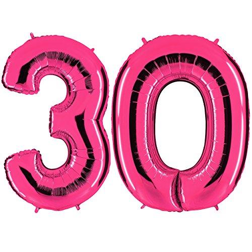 nk - XXL Riesenzahl 100cm - zum 30. Geburtstag - Party Geschenk Dekoration Folienballon Luftballon Happy Birthday Rosa - PARTYMARTY GMBH (30 Ballon)