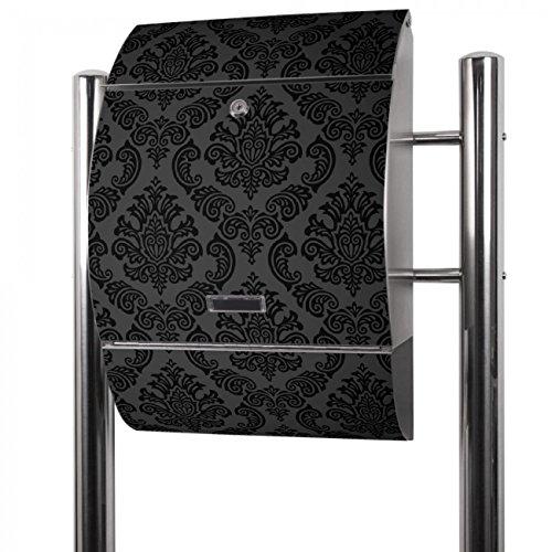 BANJADO Edelstahl Briefkasten groß, Standbriefkasten freistehend 126x53x17cm, Design Briefkasten mit Zeitungsfach Motiv Black Deluxe