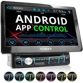 """XOMAX XM-D1002 Autoradio / Moniceiver avec 25,7 cm (10,1"""") écran tactile + Bluetooth kit mains libres + code libre Lecteur DVD Lecteur CD + carte SD, connexion USB + mp3, WMA, MPEG4, AVI + Simple DIN (DIN 1) Lecteur multimédia + RGB couleurs d'éclairage + avec télécommande et housse de rangement"""