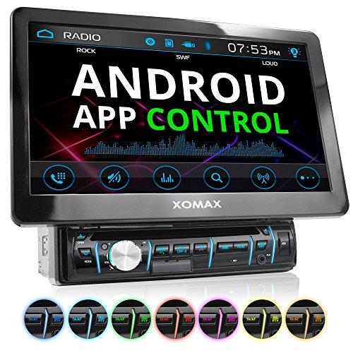 XOMAX XM-D1002 Autoradio mit XXL Touchscreen Video Bildschirm (25 cm / 10 Zoll), Android App Control, Bluetooth Freisprecheinrichtung, DVD CD Player USB SD RDS Beleuchtungsfarbe einstellbar, 1 DIN (10 Zoll Dvd Cd Player Für Auto)