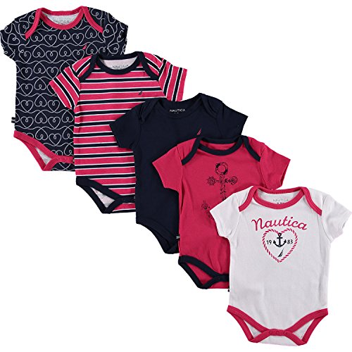 baby-girls-nautica-five-piece-pink-navy-bodysuit-set-junior-3-6-mths-navy